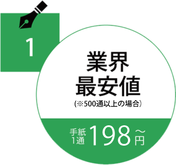 業界最安値手紙1通150円〜
