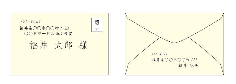 郵便枠なし洋封筒の書き方